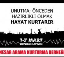 1-7 Mart Deprem Haftası